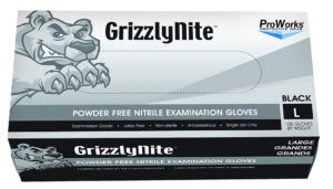 GL-N105FL GRIZZLYNITE BLACK PF NITRILE GLOVES, LARGE - 100/box (10 boxes/case) - S4266